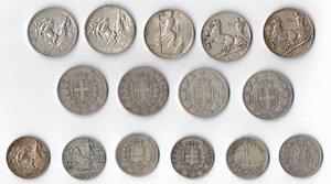reverse: Casa Savoia. Lotto di 15 monete In Argento. 3 monete da 10 Lire, 6 monete da 2 Lire e 6 monete da 1 Lira.