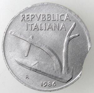 obverse: Repubblica Italiana.10 Lire 1986 Spiga. It. Mancanza del tondello.