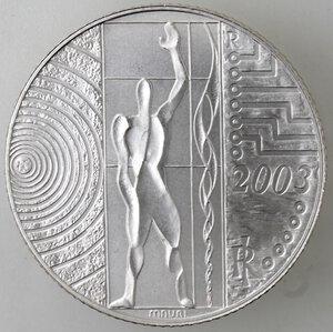 obverse: Repubblica Italiana.5 Euro 2003. Italia al lavoro. Ag.