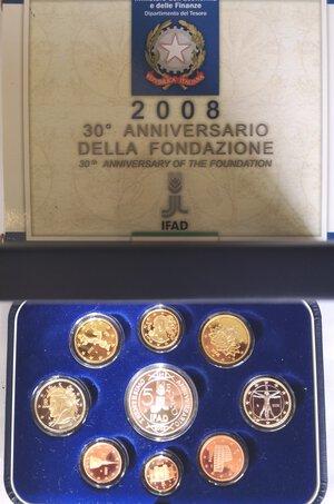 obverse: Repubblica Italiana. Serie divisionale 2008. 9 Valori. Metalli vari. Con moneta da 5 euro in Ag