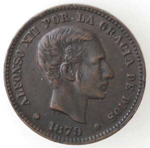 obverse: Spagna. Alfonso XII. 1875-1885. 5 Centimos 1879. Ae.
