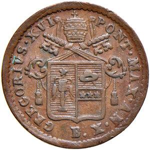 obverse: Bologna. Gregorio XVI (1831-1846). Quattrino 1840 anno X CU. Pagani 233. Chimienti 1361. Raro. SPL