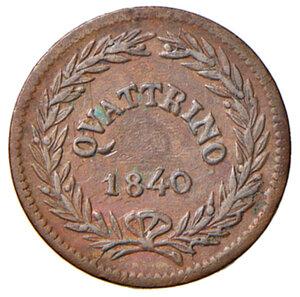 reverse: Bologna. Gregorio XVI (1831-1846). Quattrino 1840 anno X CU. Pagani 233. Chimienti 1361. Raro. SPL