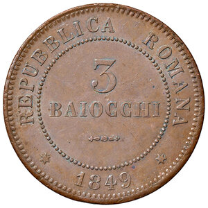 obverse: Bologna. Seconda Repubblica romana (1848-1849). Da 3 baiocchi 1849 CU. Pagani 260. Chimienti 1439. Impercettibile colpetto sul ciglio, altrimenti migliore di SPL