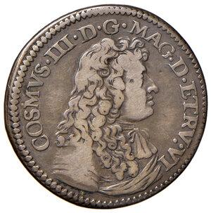 obverse: Firenze. Cosimo III de Medici (1670-1723). Testone 1677 AG gr. 8,71. Galeotti XIV, 1/4. MIR 333. Raro. Con cartellino di antica raccolta. q.BB
