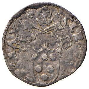obverse: Ancona. Clemente VII (1523-1534). Mezzo giulio AG gr. 1,50. Muntoni 95. Dubbini-Mancinelli pag. 119 (2° tipo). MIR 823/2. Villoresi 235. Molto raro. BB/q.BB