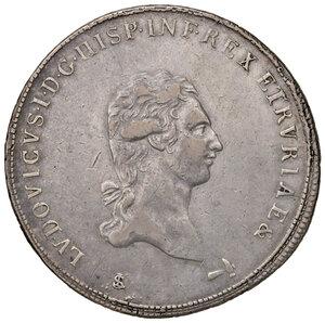 obverse: Firenze. Ludovico di Borbone re d Etruria (1801-1803). Francescone 1803 AG (martello a d. e stemma piccolo). Pagani 6e. MIR 415/4. Raro. Colpetto alle ore 6 del rov., altrimenti BB