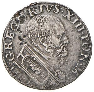 obverse: Ancona. Gregorio XIII (1572-1585). Testone 1582 AG gr. 9,48. Muntoni 200a. Dubbini-Mancinelli pag. 152 (5° tipo). MIR 1211/4. Villoresi 281b. Raro. Colpi al dr., altrimenti buon BB