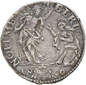 reverse: Ancona. Gregorio XIII (1572-1585). Testone 1582 AG gr. 9,48. Muntoni 200a. Dubbini-Mancinelli pag. 152 (5° tipo). MIR 1211/4. Villoresi 281b. Raro. Colpi al dr., altrimenti buon BB