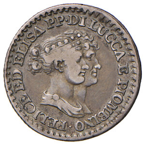obverse: Lucca. Elisa Bonaparte e Felice Baciocchi (1805-1814). Franco 1808 AG. Pagani 258. q.BB