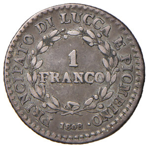 reverse: Lucca. Elisa Bonaparte e Felice Baciocchi (1805-1814). Franco 1808 AG. Pagani 258. q.BB