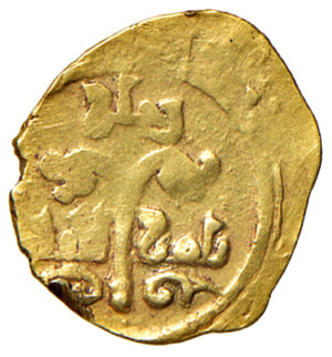 obverse: Messina. Ruggero II re di Sicilia (1105-1154). Tarì AV gr. 1,03. Spahr 40. Travaini 170. MIR 14. D Andrea Normanni 200. Raro. BB
