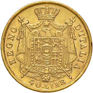 reverse: Milano. Napoleone I imperatore e re d Italia (1805-1814). Da 40 lire 1814 AV. Pagani 17a. Crippa 25/G. MIR 488/7. Buon BB/q.SPL