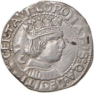reverse: Napoli. Ferdinando I d Aragona (1458-1494). Coronato (sigla C; Jacopo Cotrullo m.d.z.) AG gr. 3,65. Pannuti-Riccio 16b. MIR 68/16. Jordi Vall-Losera i Tarrés 139. BB