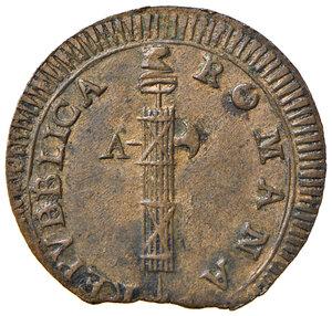 obverse: Ancona. Repubblica romana (1798-1799). Da 2 baiocchi CU gr. 17,24. Pagani 1. Muntoni 24. Bruni 4. Dubbini-Mancinelli pag. 209 (2° tipo). Villoresi -. q.SPL