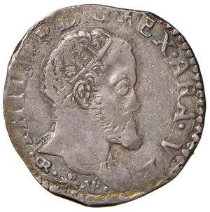 obverse: Napoli. Filippo II re di Spagna (1556-1598). Tarì (sigle GR - VP; Germano Ravaschieri m.d.z. e Vincenzo Porzio m.d.p.) AG gr. 6,01. Pannuti-Riccio 32a. MIR 179/1. Magliocca 56. Molto raro. Patina iridescente. Debolezza di conio al dr., altirmenti buon BB