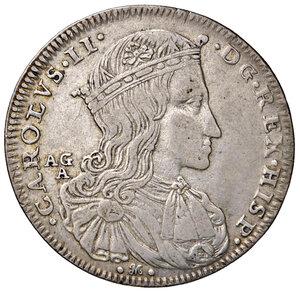 obverse: Napoli. Carlo II re di Spagna (1674-1700). Da 50 grana o mezzo ducato 1689 (sigle AG / A; Andrea Giovane m.d.z. e Marco Antonio Ariani m.d.p.) AG gr. 12,62. Pannuti-Riccio 6. MIR 296. Raro. BB/Buon BB