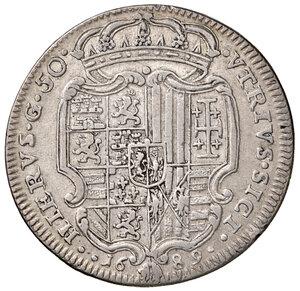 reverse: Napoli. Carlo II re di Spagna (1674-1700). Da 50 grana o mezzo ducato 1689 (sigle AG / A; Andrea Giovane m.d.z. e Marco Antonio Ariani m.d.p.) AG gr. 12,62. Pannuti-Riccio 6. MIR 296. Raro. BB/Buon BB