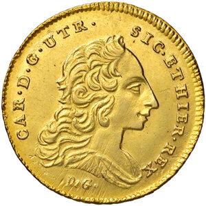 obverse: Napoli. Carlo di Borbone (1734-1759). Da 6 ducati 1753 (sigle MM-R; Domenico Maria Mazzara m.d.z. e Giovanni Russo m.d.p.) AV gr. 8,84. Pannuti-Riccio 5. MIR 331/4. Fondi lucenti e più di SPL