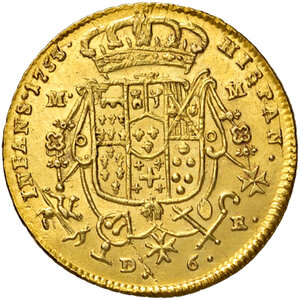 reverse: Napoli. Carlo di Borbone (1734-1759). Da 6 ducati 1753 (sigle MM-R; Domenico Maria Mazzara m.d.z. e Giovanni Russo m.d.p.) AV gr. 8,84. Pannuti-Riccio 5. MIR 331/4. Fondi lucenti e più di SPL