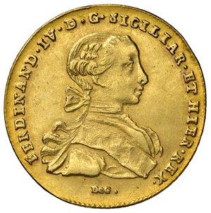 obverse: Napoli. Ferdinando IV di Borbone (1759-1816). Da 6 ducati 1766 (sigle CC-R; Cesare Coppola m.d.z. e Giovanni Russo m.d.p.) AV gr. 8,10. Pannuti-Riccio 8. MIR 352/11. Lievemente tosata, SPL