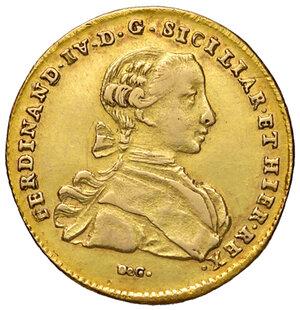 obverse: Napoli. Ferdinando IV di Borbone (1759-1816). Da 6 ducati 1766 (sigle CC-R; Cesare Coppola m.d.z. e Giovanni Russo m.d.p.) AV gr. 8,20. Pannuti-Riccio 8. MIR 352/11. Di peso calante, q.SPL