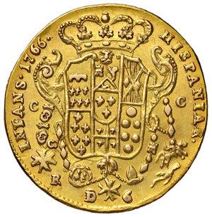 reverse: Napoli. Ferdinando IV di Borbone (1759-1816). Da 6 ducati 1766 (sigle CC-R; Cesare Coppola m.d.z. e Giovanni Russo m.d.p.) AV gr. 8,20. Pannuti-Riccio 8. MIR 352/11. Di peso calante, q.SPL
