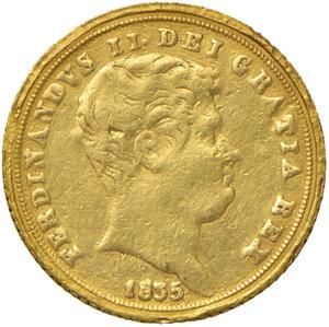 obverse: Napoli. Ferdinando II di Borbone (1830-1859). Da 3 ducati 1835 AV. Pannuti-Riccio 41. MIR 495/2. Millesimo rarissimo. Tracce di montatura, q.BB
