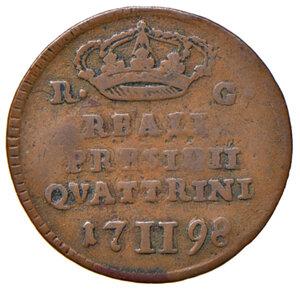 reverse: Orbetello. Reali presidi di Toscana. Ferdinando IV di Borbone (1759-1816). Da 2 quattrini 1798 CU gr. 2,24. Pannuti-Riccio 6. MIR 354/3. Rara. MB