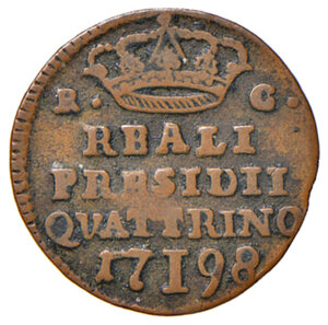 reverse: Orbetello. Reali presidi di Toscana. Ferdinando IV di Borbone (1759-1816). Quattrino 1798 CU gr. 1,44. Pannuti-Riccio 9. MIR 355/3. Raro. q.BB/BB