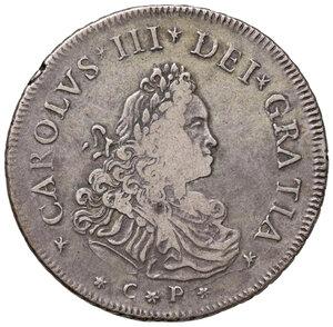 obverse: Palermo. Carlo III d Austria (VI come imperatore del S.R.I.) re di Sicilia (1720-1734). Da 12 tarì 1730 (sigle S-M; Simone Maurigi zecchiere, 1730-1734) AG gr. 29,21. Spahr 25. MIR 517/1. Molto rara. q.BB