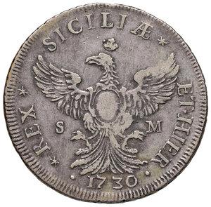 reverse: Palermo. Carlo III d Austria (VI come imperatore del S.R.I.) re di Sicilia (1720-1734). Da 12 tarì 1730 (sigle S-M; Simone Maurigi zecchiere, 1730-1734) AG gr. 29,21. Spahr 25. MIR 517/1. Molto rara. q.BB