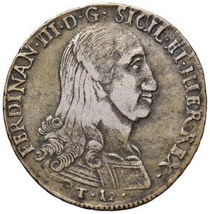 obverse: Palermo. Ferdinando III di Borbone (1759-1816). Da 12 tarì 1799 (sigle JU-I; Giuseppe Ugo, Interino zecchiere, 1798-1807) AG gr. 27,10. Spahr 34. MIR 603/5. BB