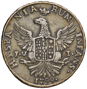 reverse: Palermo. Ferdinando III di Borbone (1759-1816). Da 12 tarì 1799 (sigle JU-I; Giuseppe Ugo, Interino zecchiere, 1798-1807) AG gr. 27,10. Spahr 34. MIR 603/5. BB
