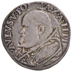 obverse: Roma. Paolo V (1605-1621). Testone anno IV AG gr. 9,36. Muntoni 35. MIR 1538/2. Raro. Patina di medagliere, BB