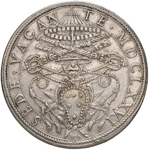 obverse: Roma. Sede Vacante 1676 (Camerlengo card. Paluzzo Paluzzi-Altieri). Piastra 1676 AG gr. 31,86. Muntoni 1. MIR 1985/1. SPL/q.SPL