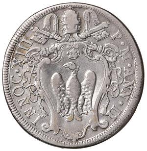 obverse: Roma. Innocenzo XIII (1721-1724). Mezza piastra anno II AG gr. 15,60. Muntoni 4a. MIR 2399/2. Molto rara. q.BB