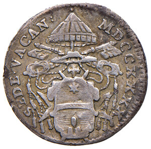obverse: Roma. Sede Vacante 1740 (Camerlengo card. Annibale Albani). Grosso 1740 AG gr. 1,12. Muntoni 16. q.BB
