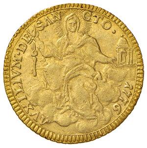 reverse: Roma.Pio VI (1775-1799). Zecchino 1776 anno II AV gr. 3,42. Muntoni 8a). Impercettibile colpetto sul ciglio alle ore 8 del dr., altrimenti q.SPL