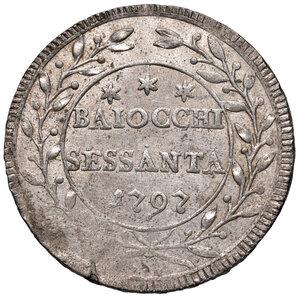 reverse: Roma. Pio VI (1775-1799). Da 60 baiocchi 1797 anno XXII MI gr. 17,14. Muntoni 62a. Debolezza di conio marginale, altrimenti SPL