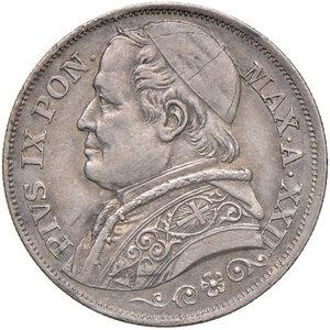 obverse: Roma. Pio IX (1846-1878). Monetazione decimale, 1866-1870. Da 2 lire 1867 anno XXII AG. Pagani 558. Patina iridescente, SPL/Migliore di SPL