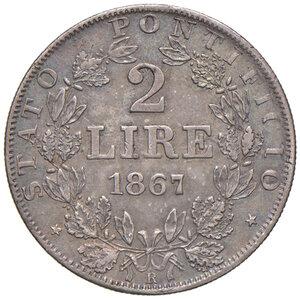 reverse: Roma. Pio IX (1846-1878). Monetazione decimale, 1866-1870. Da 2 lire 1867 anno XXII AG. Pagani 558. Patina iridescente, SPL/Migliore di SPL