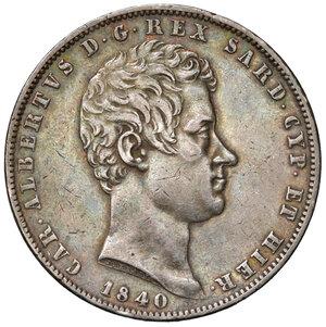 obverse: Savoia. Carlo Alberto (1831-1849). Da 5 lire 1840 Genova AG. Pagani 247. Patina di medagliere, migliore di BB