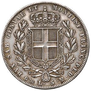 reverse: Savoia. Carlo Alberto (1831-1849). Da 5 lire 1840 Genova AG. Pagani 247. Patina di medagliere, migliore di BB