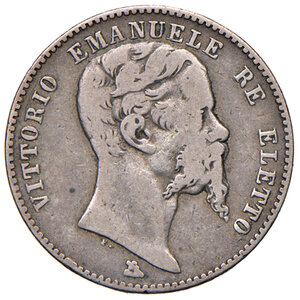 obverse: Savoia. Vittorio Emanuele II re eletto (1859-1861). Da 2 lire 1860 Firenze AG. Pagani 436. Rara. q.BB/BB