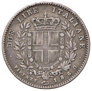 reverse: Savoia. Vittorio Emanuele II re eletto (1859-1861). Da 2 lire 1860 Firenze AG. Pagani 436. Rara. q.BB/BB