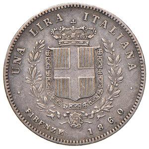 reverse: Savoia. Vittorio Emanuele II re eletto (1859-1861). Lira 1860 Firenze AG. Pagani 441. BB