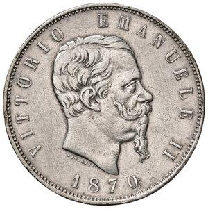 obverse: Savoia. Vittorio Emanuele II re d Italia (1861-1878). Da 5 lire 1870 Roma AG. Pagani 491. Rara. Lievi tracce di spazzolatura, altrimenti buon BB