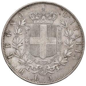 reverse: Savoia. Vittorio Emanuele II re d Italia (1861-1878). Da 5 lire 1870 Roma AG. Pagani 491. Rara. Lievi tracce di spazzolatura, altrimenti buon BB