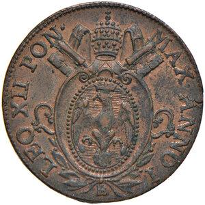 obverse: Bologna. Leone XII (1823-1829). Mezzo baiocco romano 1824 anno I CU. Pagani 119. Chimienti 1265. Iridescenze rosse, q.FDC
